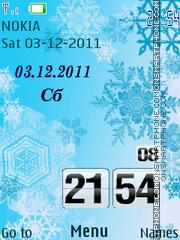 Snowflakes Clock theme screenshot