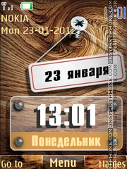 Wood Clock tema screenshot