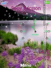 Purple nature clock es el tema de pantalla