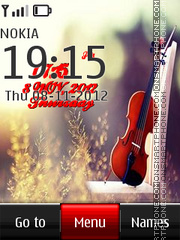 Violin Digital Clock theme screenshot