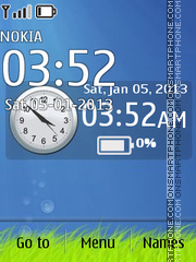 Blue Deep Clock theme screenshot