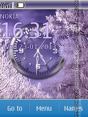 Purple Winter Clock theme screenshot