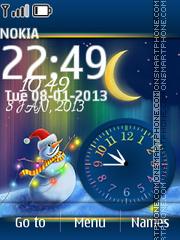 Snow Man Dual Clock es el tema de pantalla
