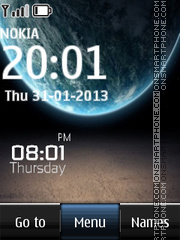 Galaxy Digital Clock es el tema de pantalla