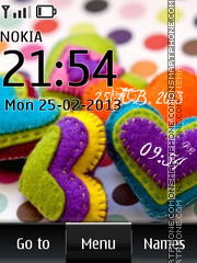 Vivid Hearts Digital Clock theme screenshot