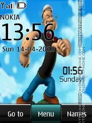 Popeye the Sailor Man Digital Clock theme screenshot
