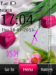 Tender Tulips Dual Clock es el tema de pantalla
