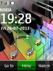 Piano Digital Clock theme screenshot