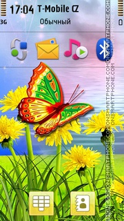 Butterfly And Yellow Dandelions theme screenshot