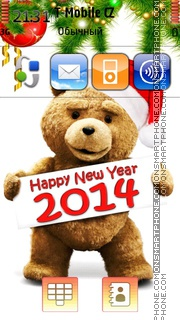 Happy New Year 2014 with Ted tema screenshot