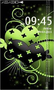 Green Black Abstract Hearts theme screenshot