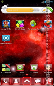 Red Space Fusion Go launcher es el tema de pantalla