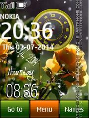 Rose dual clock 02 theme screenshot