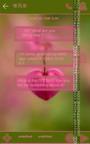 Pink Heart GO SMS THEME es el tema de pantalla
