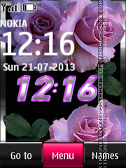 Pink Roses with Digital Clock theme screenshot