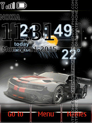 Chevrolet Camaro with Weather and Clock es el tema de pantalla
