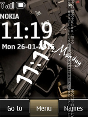 Weapon Pistol Digital Clock es el tema de pantalla