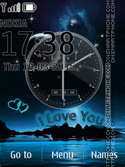I Love U Clock theme screenshot