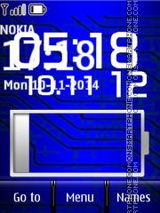 Blue Battery and Digital Clock es el tema de pantalla