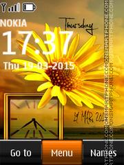 Yellow Flower Dual Clock es el tema de pantalla