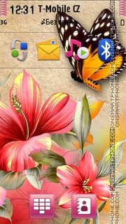 Flowers And Butterfly theme screenshot