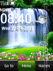Waterfall Digital Clock es el tema de pantalla