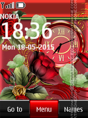 Red Flowers Clock 01 es el tema de pantalla