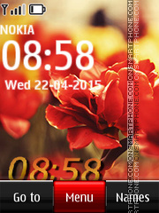 Flower Digital Clock 03 theme screenshot