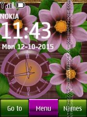 Pink Flower Dual Clock 02 es el tema de pantalla