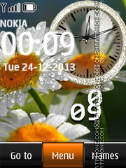 Daisies Dual Clock theme screenshot