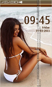 Girl in Bikini on the beach theme screenshot