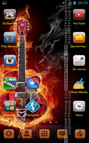 Guitar in Orange Fire es el tema de pantalla