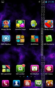 Purple Galaxy Nebula theme screenshot