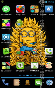 Скриншот темы Minions with bananas