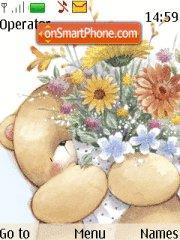 Teddy bear with Flower es el tema de pantalla