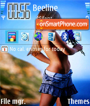Girl with Flowers theme screenshot