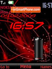 SWF clock $ battery red theme screenshot
