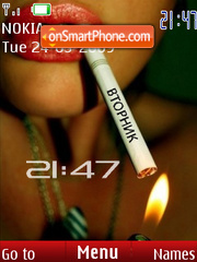 SWF clock girl with a cigarette theme screenshot