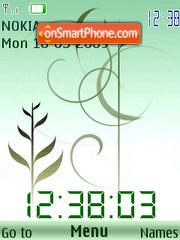 SWF clock grass animated theme screenshot