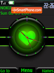 Green Heart Clock theme screenshot