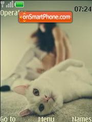 Beauty girl with cat es el tema de pantalla