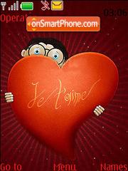 Hiding Cartoon Behind Heart Swf Clock theme screenshot