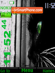 Cat with Green eyes SWF Clock es el tema de pantalla