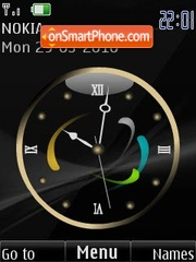 Analog black clock animated theme screenshot