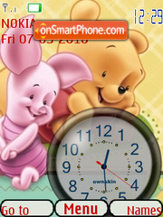 Baby Pooh Clock theme screenshot