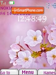Pink Flower Clock theme screenshot