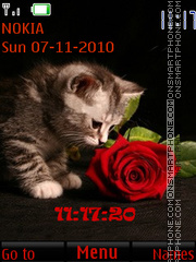 Kitten and a rose theme screenshot