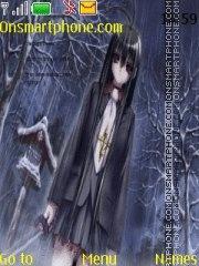 Anime Rain Sad theme screenshot
