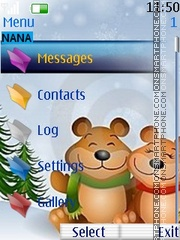Snow Teddy Clock theme screenshot