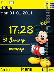 Cute Mickey Clock theme screenshot